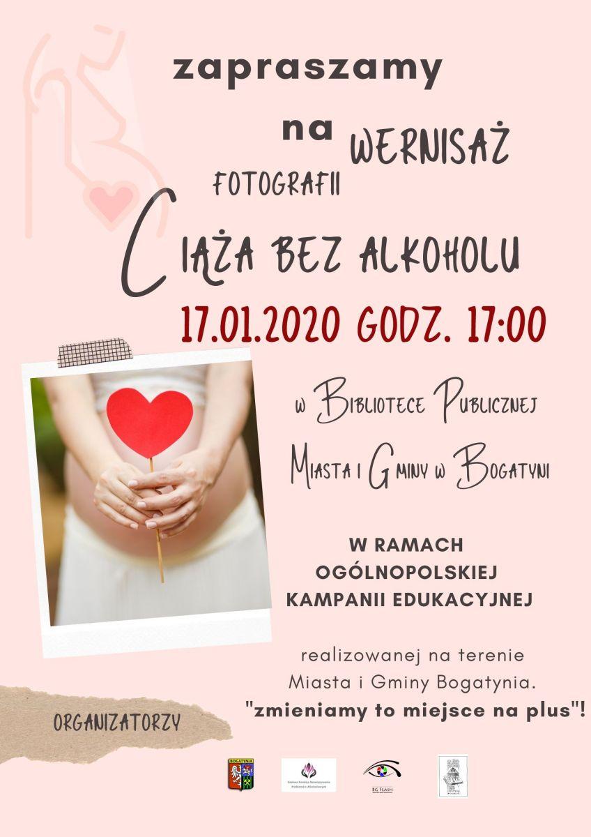 Ciąża bez  alkoholu  plakat na wernisaż